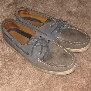 Gray Sperry boat shoes